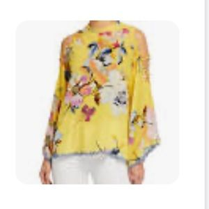 JOHNNY WAS YELLOW OFF THE SHOULDERS TOP. NWT. M